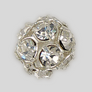8mm Rhinestone Ball Crystal, Silver Plated