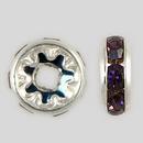 8mm Rhinestone Rondelle Amethyst, Silver Plated
