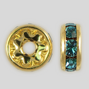 8mm Rhinestone Rondelle Aquamarine, Gold Plated