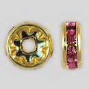 8mm Rhinestone Rondelle Rose, Gold Plated