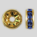 8mm Rhinestone Rondelle Sapphire, Gold Plated