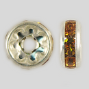 8mm Rhinestone Rondelle Topaz, Silver Plated
