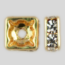 8x8mm Rhinestone Squaredelle Crystal, Gold Plated