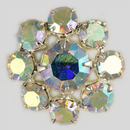 Crystal AB, Silver Plated 17mm Rhinestone Button, ss18, ss30