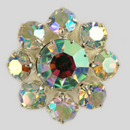 Crystal AB, Silver Plated 22mm Rhinestone Button, ss25, ss45