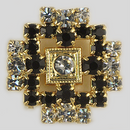 Crystal and Jet Stones, Gold Plated 15mm Rhinestone Button