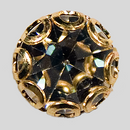 Crystal, Gold Plated 12mm Rhinestone Button, ss48,