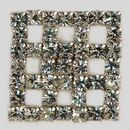 Crystal, Rhodium Silver Plated 18mm Square Rhinestone Button