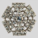 Crystal, Rhodium Silver Plated 23mm Rhinestone Button