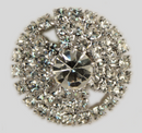 Crystal, Rhodium Silver Plated 23mm Round Rhinestone Button