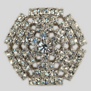 Crystal, Rhodium Silver Plated 28mm Rhinestone Button