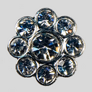 Crystal, Silver Plated 11mm Rhinestone Flower Button, ss8, ss17