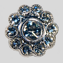 Crystal, Silver Plated 14mm Rhinestone Flower Button, ss9, ss20