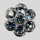 Crystal, Silver Plated 18mm Rhinestone Flower Button, ss20, ss22