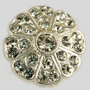 Crystal, Silver Plated 19mm Rhinestone Button, ss6, ss18
