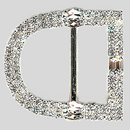 D-Shaped 2 Row Rhinestone Buckle Crystal Silver, 50x45mm Outside Dimensions, 28mm Inside Dimension