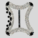 Fancy Rhinestone 2 Row Buckle Crystal Jet Silver, 35x42mm Outside Dimensions, 28mm Inside Dimension