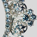 Fancy Rhinestone Buckle Crystal Silver, 60x70mm Outside Dimensions, 34mm Inside Dimension, ss8.5, ss12, ss14.5, ss18