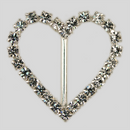 Heart Shaped Rhinestone Buckle Crystal Silver, 43x38mm Outside Dimensions, 25mm Inside Dimension