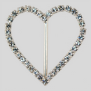 Heart Shaped Rhinestone Buckle Crystal Silver, 57x50mm Outside Dimensions, 37mm Inside Dimension