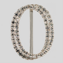 Oval 2 Row Rhinestone Buckle Crystal Silver, 35x47 mm Outside Dimensions, 30mm Inside Dimension, ss12
