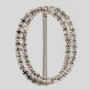 Oval 2 Row Rhinestone Buckle Crystal Silver, 35x47 mm Outside Dimensions, 30mm Inside Dimension, ss12
