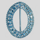 Oval Rhinestone 3 Row Buckle Crystal Silver, 70x88mm Outside Dimensions, 57mm Inside Dimension