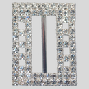 Rectangle 3x2 Row Rhinestone Buckle Crystal Silver, 36x47mm Outside Dimensions, 32mm Inside Dim, ss14.5