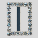 Rectangle Rhinestone Buckle Crystal Silver, 20x16mm Outside Dimensions, 14mm Inside Dimension, ss8.5