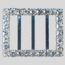 Rectangle Rhinestone Buckle Crystal Silver, 38x30mm Outside Dimensions, 21mm Inside Dimenson