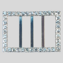 Rectangle Rhinestone Buckle Crystal Silver, 54x38mm Outside Dimensions, 29mm Inside Dimenson