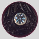 Round Fancy Glass Jet button with a big Rhinestone in the center, 13mm