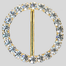 Round Rhinestone Buckle Crystal Gold, 51mm Outside Dimension, 38mm Inside Dimension