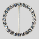 Round Rhinestone Buckle Crystal Silver, 57mm Outside Dimension, 44mm Inside Dimension