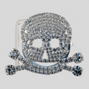 Skull Rhinestone Buckle Crystal Silver, 48x52mm Outside Dimensions, 32mm Inside Dimension