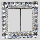 Square 2 Row Rhinestone Buckle Crystal Silver, 55mm Outside Dimension, 34mm Inside Dimenson