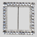 Square 2 Row Rhinestone Buckle Crystal Silver, 65mm Outside Dimension, 45mm Inside Dimenson