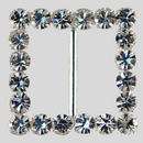 Square Rhinestone Buckle Crystal Silver, 34mm Outside Dimension, 22mm Inside Dimenson, ss25