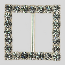 Square Rhinestone Buckle Crystal Silver, 43mm Outside Dimension, 30mm Inside Dimenson