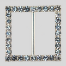 Square Rhinestone Buckle Crystal Silver, 56mm Outside Dimension, 43mm Inside Dimenson