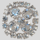 0.75 inch Crystal Silver Plated Rhinestone Button