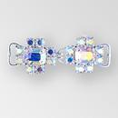 1.90 Inch x 0.625 Inch Crystal AB Silver Rhinestone Closure