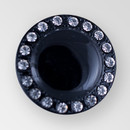 Round Glass Jet button with Rhinestones around the edge, 23mm
