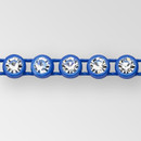 1-row ss8 Crystal AB, Royal Blue Setting, Machine Cut Rhinestone Plastic Banding