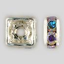 4x4mm Rhinestone Squaredelle Crystal AB Silver Plated