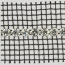1-row Metal Set Brilliant Banding Crystal, Silver Plated with Black netting on both sides