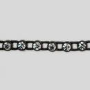 1-row ss13 Crystal, Black Setting, Machine Cut Stretch Rhinestone Plastic Banding