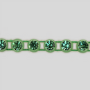 1-row ss13 Peridot, Green Setting, Machine Cut Rhinestone Plastic Banding
