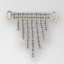 2.5x2 inches Rhinestone Connector in Crystal Gold, ss14.5