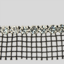 1-row ss19, 4.5mm Machine Cut Metal Set Banding Crystal, Silver Plated, Black Netting on one Side